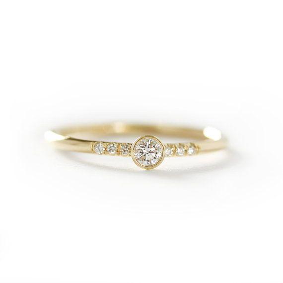 GIA 14k anillo de compromiso diamante oro amarillo sólido