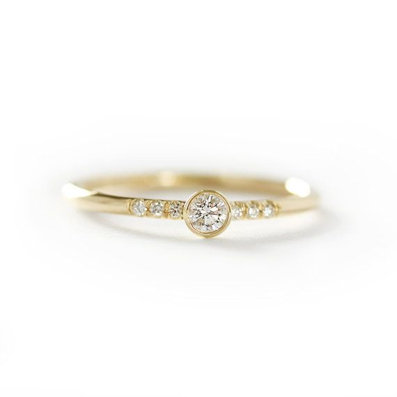 GIA 14k Solid Yellow Gold Diamond Engagement Ring ,Simple Engagement Ring,Stacking Diamond Gold Ring-Conflict Free