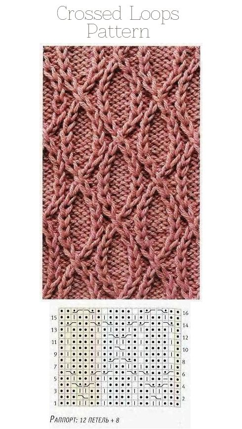 Crossed Loops (traveling stitches) knitting pattern with graph // for a cowl?