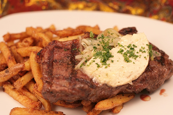 Steak and Frites with herb butter!      www.thesultanstent.com