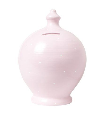 Pale pink piggy bank. All the Terramundi piggy bankshandmade made by a small run potter family in Umbra, Italy and they're painted by hand in London. Quality and cuteness.