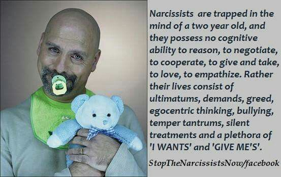 Narcissists are trapped in the mind of a two year old.