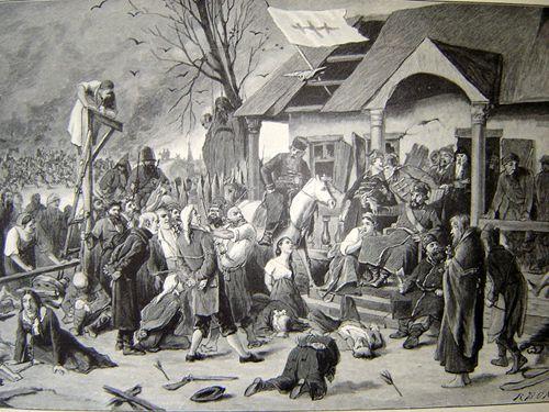 volga+german+villages | Drawing of Pugachev and his followers terrorizing a village.