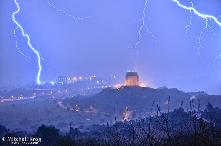 Photo / Lightning over Voortrekker Monument, Pretoria, South Africa - http://mitchellkrog.com/lightning-photography/photo-lightning-over-voortrekker-monument-pretoria-south-africa/