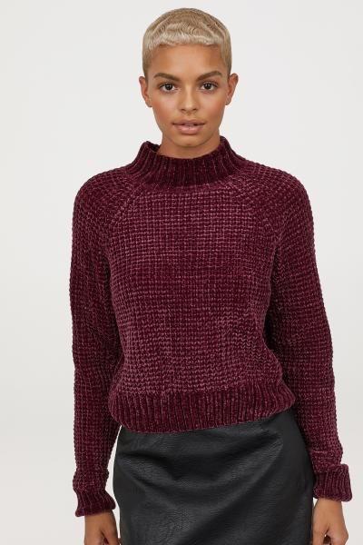 Rib-knit Sweater - Burgundy chenille - Ladies  94d556969