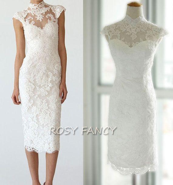 Elegant Mandarin Collar Cap Sleeves Sheath Line Tea Length Short Lace Wedding Dress on Etsy, $406.45