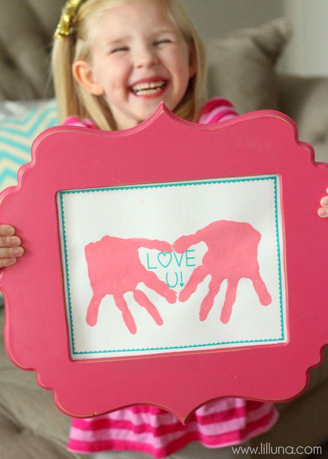 CUTE Love Hand Prints Gift Idea - perfect for Valentine's!! { lilluna.com }