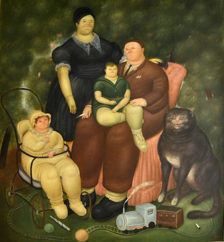 """Fernando Botero (1932 -     ) - A sua pintura é frequentemente um comentário social com acento político. """"Family Scene"""", de 1969 – Nesta obra o estilo volumoso da arte figurativa do artista é inconfundível. A família burguesa é o mote desta representação. O importante para Botero é encontrar a beleza a partir da forma e do volume. O artista  classificou as suas figuras como """"formosas"""", que do ponto de vista do autor significa bonitas e grandes."""