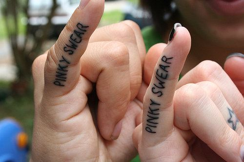 26 Matching Tattoo Ideas for Couples - I LOVE the pinky swear!