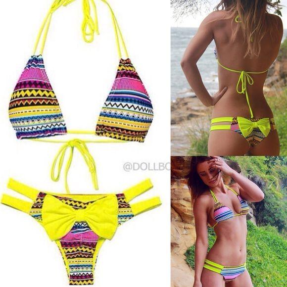 New DOLLBOXX Aztec bikini Top&Bottom New DOLLBOXX Yellow Aztec bikini Top & Bottom. Size Medium Dollboxx Swim Bikinis