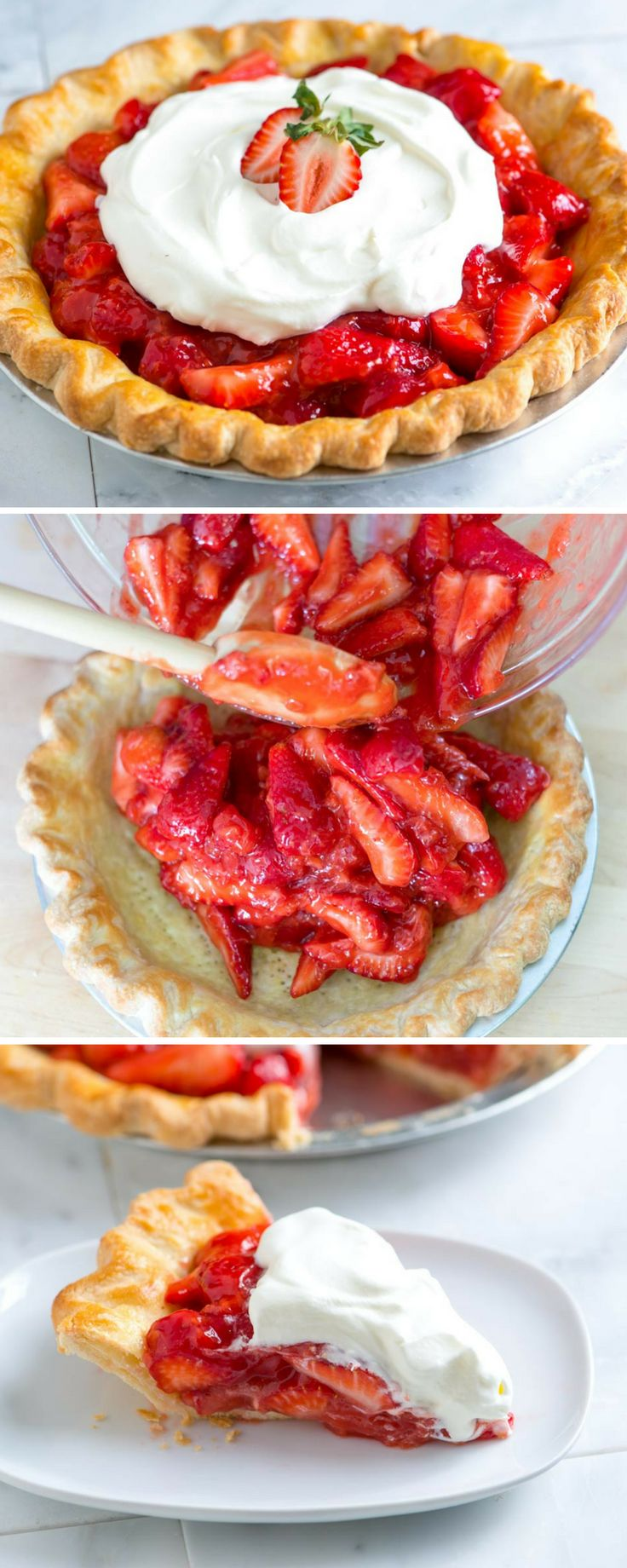 I love this fresh strawberry pie recipe! The strawberry filling has sweet strawberries coated in a light strawberry glaze, and then the whole pie is topped with whipped cream. It's the perfect way to use up fresh strawberries!