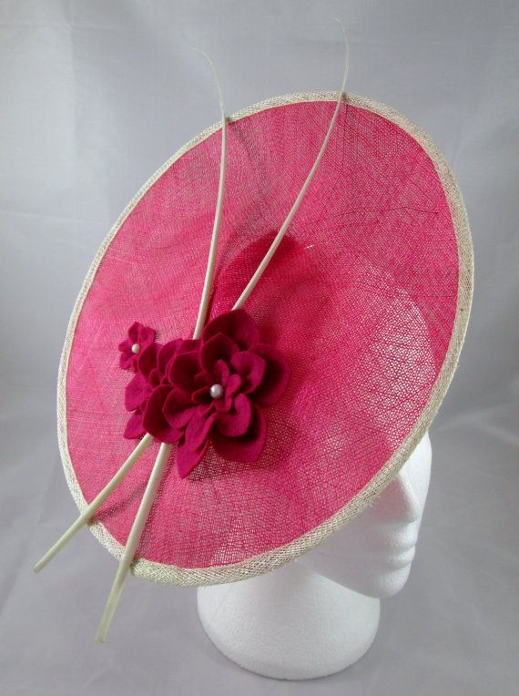 Pink Saucer Fascinator - Pink Hat, Wedding Hat, Hot Pink, Felt Flower, Fascinator, Saucer Hat, Sinamay Hat