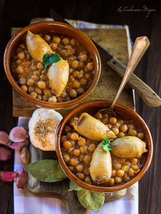 Potaje de Garbanzos con chipirones rellenos