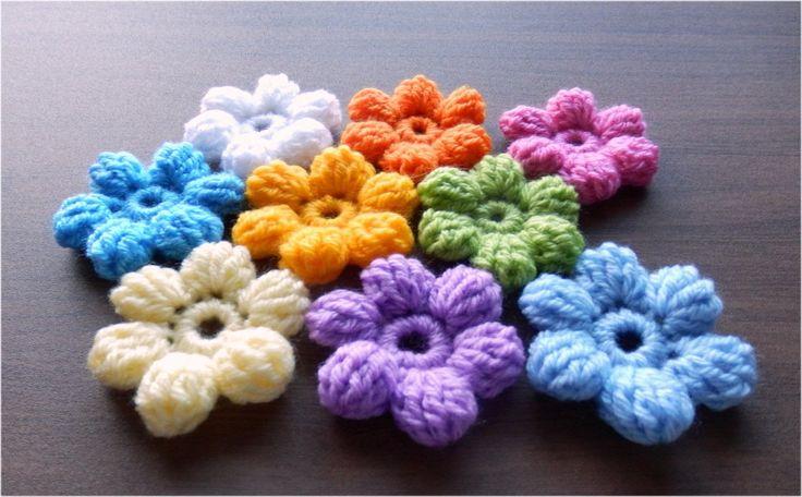 かぎ針編みの玉編みの花(長々編み5目)の編み方 How to Crochet 3D-flower