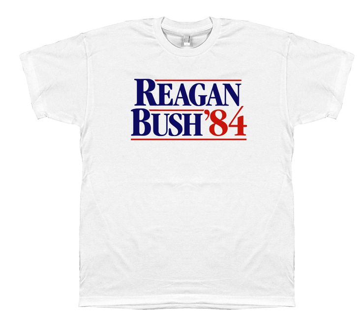 The original classic 1984 campaign shirt from Ronald Reagan's historic presidential bid against Walter Mondale. On November 6, 1984 Ronald Reagan and George H. W. Bush carried 49 of 50 states receivin