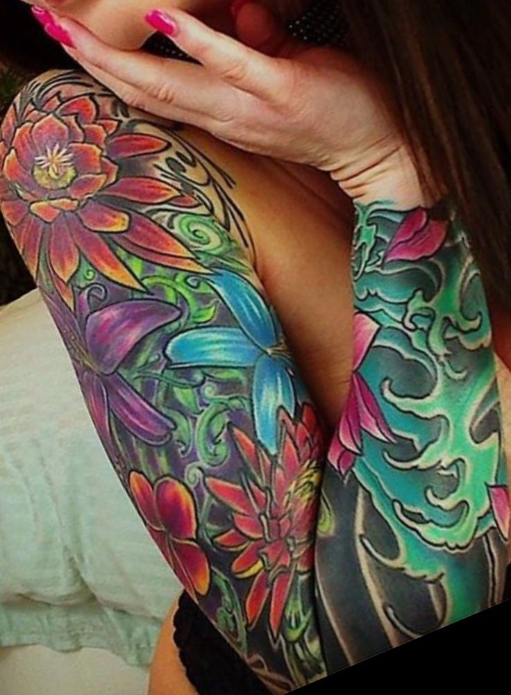 Sleeve Tattoo Image: Colorful Sleeve Tattoo// Flower Tattoo Ideas// Sleeve
