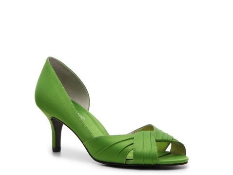 Might look good because of the color of our dresses? If the heel isn't too skinny for you. Kelly & Katie Casilda Pump