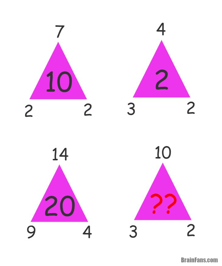 Brain teaser - Number And Math Puzzle - triangle riddle - find the missing number in the last violet triangle.