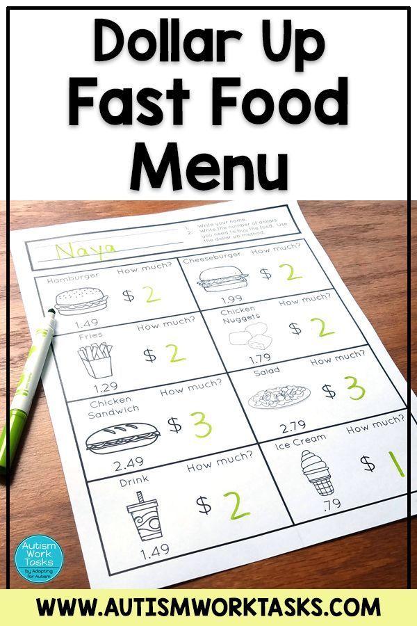 Life Skills Worksheets Fast Food Restaurants Life Skills Classroom Life Skills Lessons Special Education Math Autism life skills worksheets