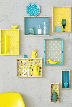 decorative ideas for walls; yellow and aqua shadow boxes.