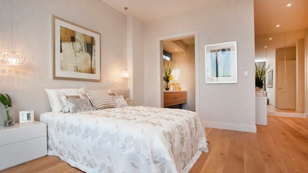 The master bedroom in the Urbis - luxury sized with a stylish dressing room & ensuite...