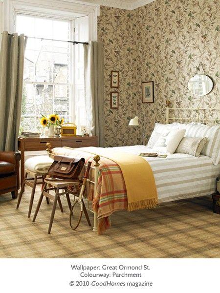 87 best antique bedrooms images on pinterest for Neutral bedroom wallpaper