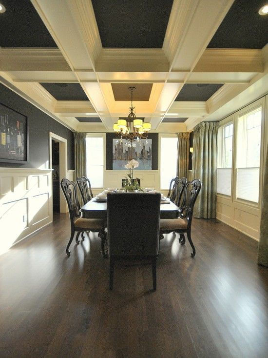 Dining room: Dark Gray, box beam ceiling