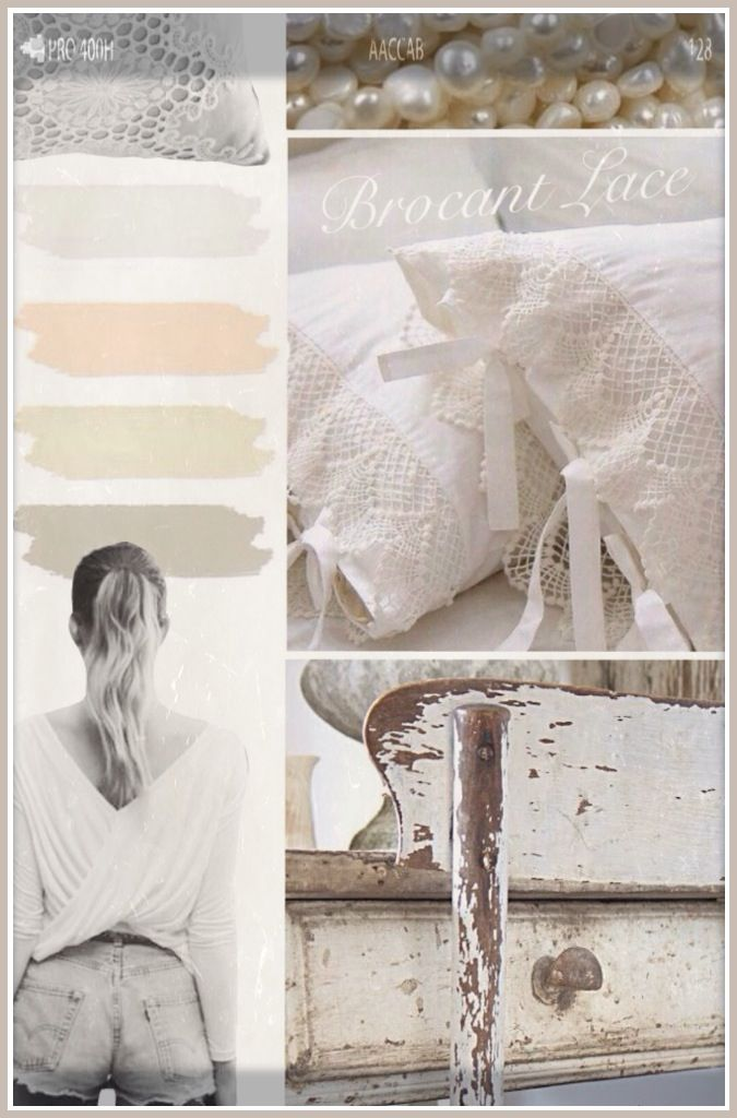 Lace spring interiordesign and homedecoration moodboard! Vintage brocant broquant wood