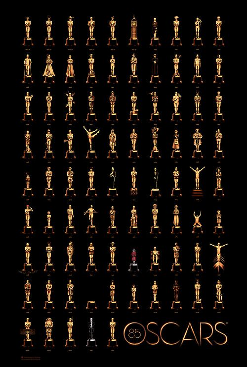 Olly Moss - I worked with the Academy to create the official 85 Years of Oscars poster.  Click here to see it in detail!  The brief was one of the hardest I've ever had; find a way to reference every single Best Picture winner from the last 85 years.  Thanks toGallery 1988 for putting my name forward and organising this whole shebang.