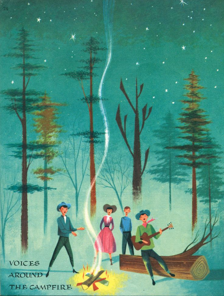 newhousebooks:  Campfire, from Voices of America, illus by Robert J. Lee, 1957
