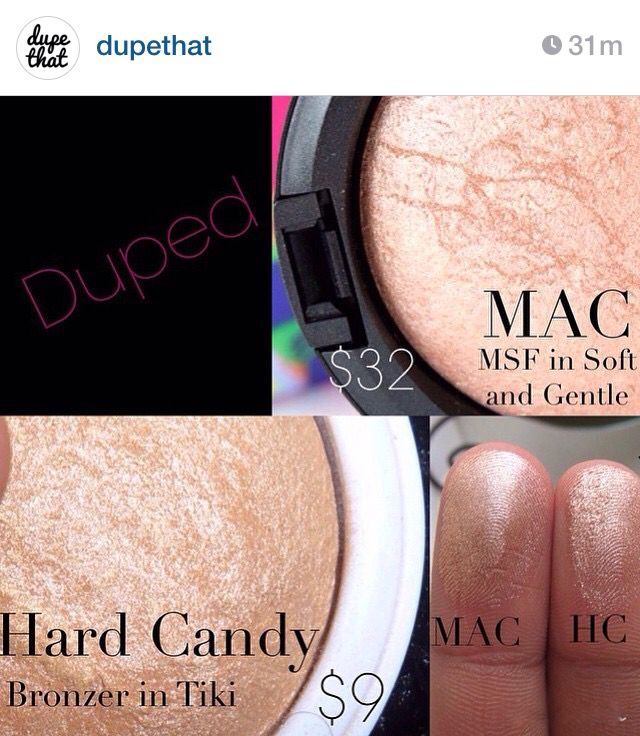 "Dupe for Mac Soft and Gentle: Hard Candy Tiki. It's considered a bronzer but it's light enough to use as a highlighter, from ""dupethat"" on Instagram."