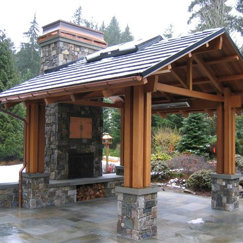 17 best ideas about outdoor pavilion on pinterest backyard kitchen backyard pavilion and patio - Outdoor gazebo plans with fireplace ...