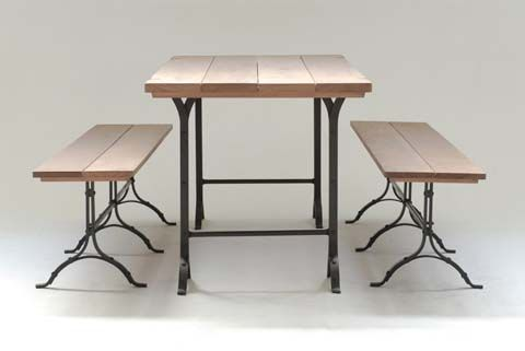 Trestle Table with Natural Timber Top and Galvanized Base - Inside Out Home Boutique