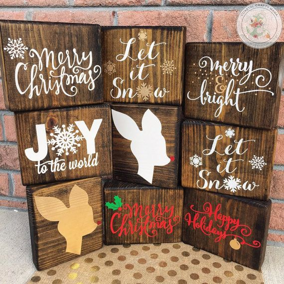 The perfect addition to your seasonal Christmas and holiday décor! Set of 3 rustic wood Christmas blocks. These are the perfect size for a mantle, window sill, bookshelf, end table or anywhere else you can think of and can be arranged in several different ways and combinations! The personalization and customization options are limitless! These Christmas designs feature glitter and are so unique. What a wonderful, versatile collection for you to add to your seasonal décor!  Each block is…