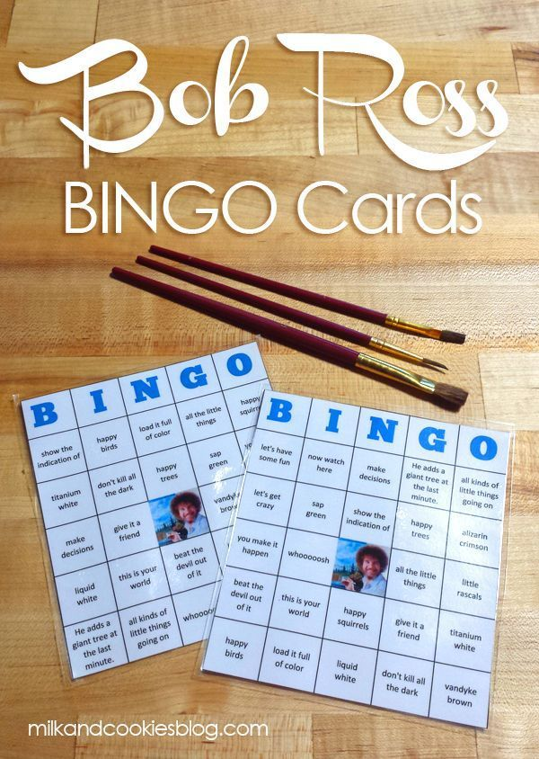 Bob Ross fan? Watch and play along with these FUN & free BINGO cards.