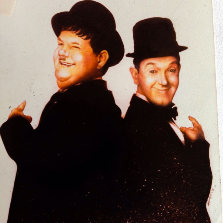 Laurel and Hardy, mixed media illustration.