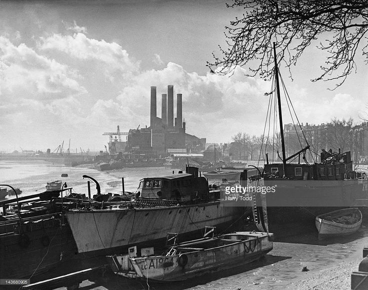 Lots Road Power Station on the River Thames in Chelsea, London, 1st April 1948.