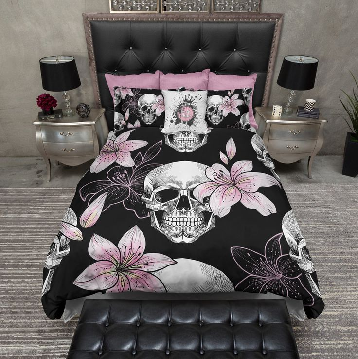 Pink Lily Skull Bedding Collection Duvet bedding sets