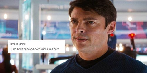 My favorite curmudgeon/ McCoy, once portrayed by DeForest Kelley, and now by Karl Urban.