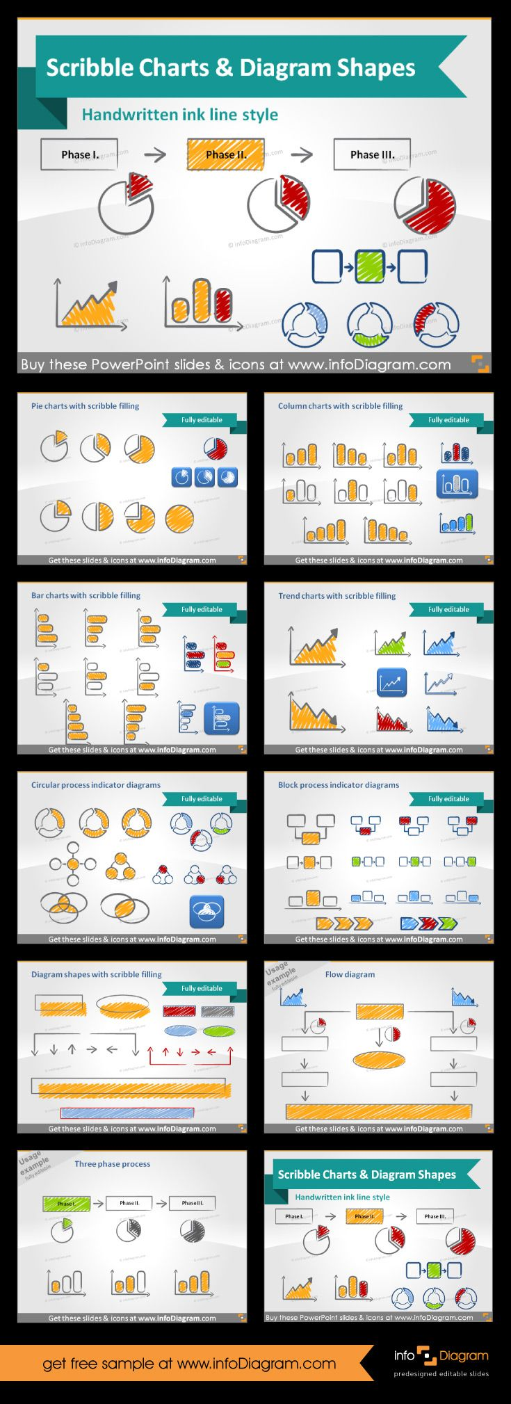 Scribble symbols to create awesome diagrams and processes flows. Icons of laptop, tablet, pencil, mobile and much more. You can create unique sides with these icons for PowerPoint. Edit, resize and change color as you need. #powerpoint #template #theme #scribble