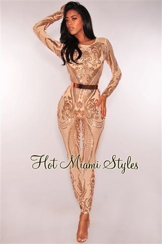 48aac605934 Rose Gold Victorian Sequins Mesh Unlined Jumpsuit in 2019