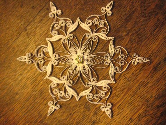 Quilled filigree paper snowflake by SnowQuillings on Etsy, $25.00
