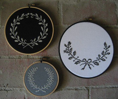 cross-stitch pieces from kimberly at chez sucre chez - easily translated into knitting motifs