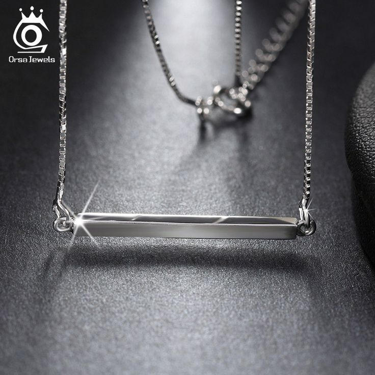925 Sterling Silver Bar Pendant Necklaces for Men/Women 2016 Genuine Sliver Jewelry Lover's Gift SN09