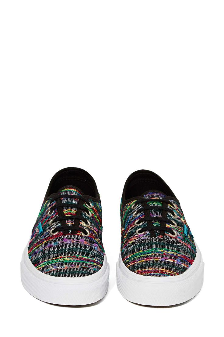 Vans Authentic Sneaker - Black Multi Weave | Shop Sneakers at Nasty Gal