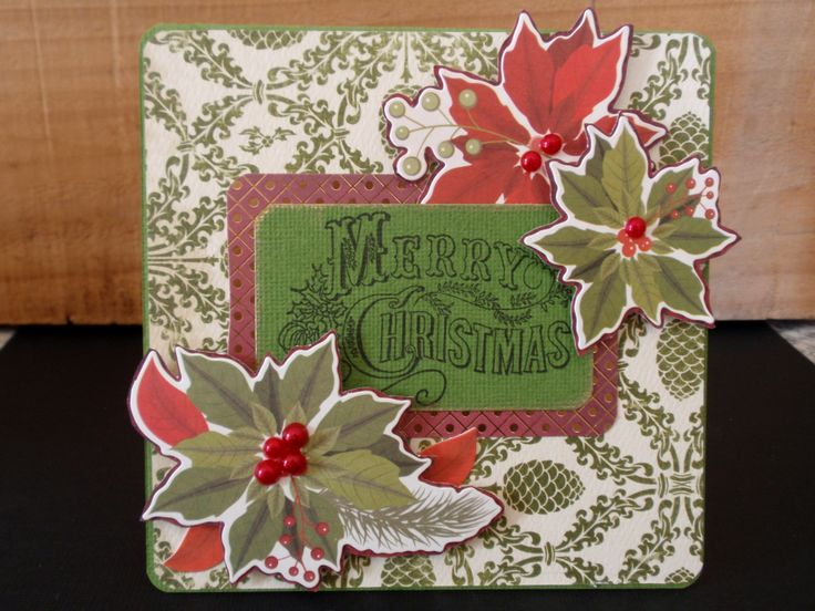 One of my favourites for this year's cards. Easy layout with sentiment and details around it. merry christmas stamp, poinsettias, pearls, pinecone, kaisercraft, red, green