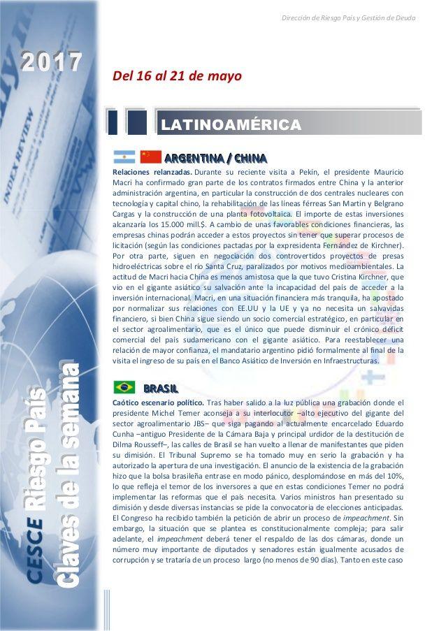 Resumen de las noticias internacionales más destacadas del 16 al 21 de mayo de 2017, elaborado por el departamento de Riesgo País de CESCE.