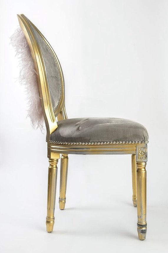 Gold distressed French Louis XVI side chair upholstered in grey silk velvet on front and 100% genuine grey ostrich feathers on outside back.   L24 W24 H38.5   *follow our projects on Instagram: @Skinndd