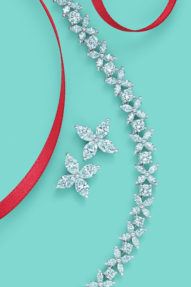 Tiffany Victoria™ designs, from left: earrings in platinum with marquise diamonds and necklace in platinum with marquise and round brilliant diamonds. #TiffanyPinterest