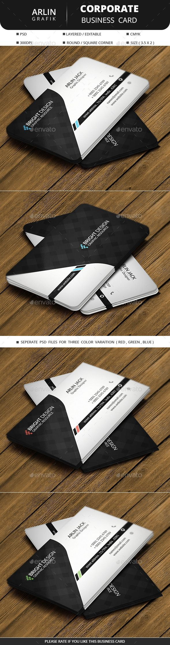Corporate Business Card  - Corporate Business Card Template PSD. Download here: http://graphicriver.net/item/corporate-business-card-/12159824?s_rank=1792&ref=yinkira